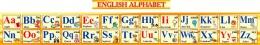 Купить Стенд Английский Алфавит с картинками в желтых тонах горизонтальный 250*2000мм в Беларуси от 62.00 BYN