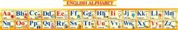 Купить Стенд Английский Алфавит с картинками в желтых тонах  с английской транскрипцией 250*2000мм в Беларуси от 59.00 BYN