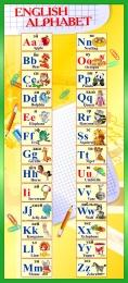 Купить Стенд Английский Алфавит с картинками в жёлто-зелёных тонах 300*660 мм в Беларуси от 23.00 BYN