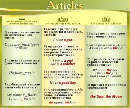 Купить Стенд Articles в кабинет английского языка в золотисто-оливковых тонах 600*500 мм в Беларуси от 35.00 BYN