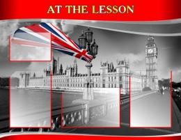 Купить Стенд AT THE LESSON для кабинета английского языка в стиле Лондон 970*750мм в Беларуси от 92.90 BYN