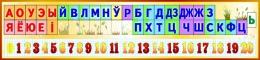Купить Стенд Белорусские буквы, звуки и числа от 0 до 20 в золотистых тонах 1500*350мм в Беларуси от 57.00 BYN