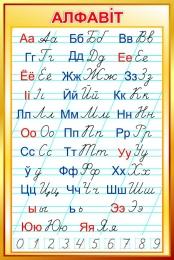 Купить Стенд Белорусский алфавит прописной и строчной в золотистых тонах 670*1000 мм в Беларуси от 73.00 BYN
