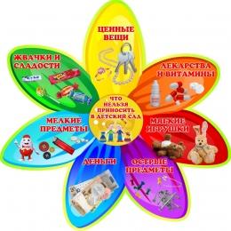 Купить Стенд Что нельзя приносить в детский сад в стиле группы Семицветик 390*390мм в Беларуси от 17.00 BYN