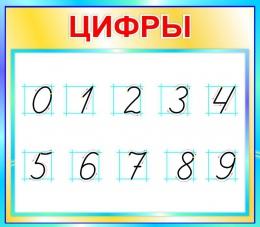 Купить Стенд Цифры для начальной школы в бирюзовых тонах  400*350мм в Беларуси от 16.00 BYN