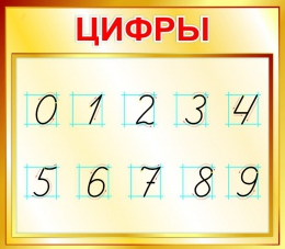 Купить Стенд Цифры для начальной школы в золотистых тонах 400*350мм в Беларуси от 16.00 BYN