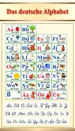 Купить Стенд Das deutsche Alphabet  Алфавит с прописными буквами в кабинет немецкого языка в бежево-золотистых тонах 500*850мм в Беларуси от 46.00 BYN