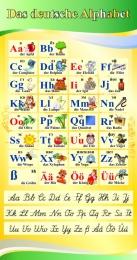 Купить Стенд Das deutsche Alphabet  Алфавит с прописными буквами в кабинет немецкого языка желто-зеленый  530*1000 мм в Беларуси от 58.00 BYN