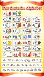 Купить Стенд Das deutsche Alphabet  Алфавит с прописными буквами в кабинет немецкого языка золотисто-красный 530*930 мм в Беларуси от 60.00 BYN