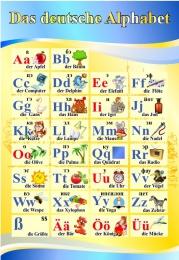 Купить Стенд Das deutsche Alphabet  Алфавит в кабинет немецкого языка в желто-голубых тонах 530*770 мм в Беларуси от 44.00 BYN