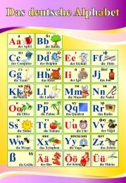 Купить Стенд Das deutsche Alphabet  Алфавит  в кабинет немецкого языка в золотисто-сиреневых тонах 530*770 мм в Беларуси от 44.00 BYN