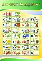 Купить Стенд Das deutsche Alphabet  Алфавит в кабинет немецкого языка желто-зеленый  530*770 мм в Беларуси от 47.00 BYN
