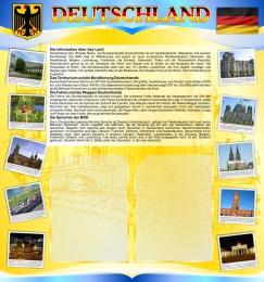 Купить Стенд Deutschland в кабинет немецкого языка на 2 кармана А4 в жёлто-голубых 750*800мм в Беларуси от 70.00 BYN