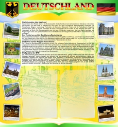 Купить Стенд Deutschland в кабинет немецкого языка на 2 кармана А4 в жёлто-салатовых тонах 750*800мм в Беларуси от 70.00 BYN
