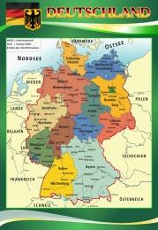 Купить Стенд Deutschland в кабинет немецкого языка  на немецком в зеленых тонах 530*770мм в Беларуси от 44.00 BYN