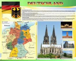 Купить Стенд Deutschland в кабинет немецкого языка  на немецком в желто-зеленых тонах 1000*1250мм в Беларуси от 136.00 BYN