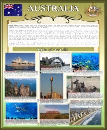 Купить Стенд Достопримечательности Австралии в золотисто-оливковых тонах 700*850 мм в Беларуси от 68.00 BYN