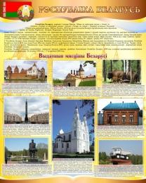 Купить Стенд Достопримечательности Беларуси на белорусском языке в золотисто-коричневых тонах 600*750 мм в Беларуси от 49.00 BYN