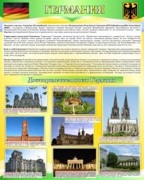 Купить Стенд Достопримечательности Германии в золотисто-зеленых тонах 600*750 мм в Беларуси от 49.00 BYN