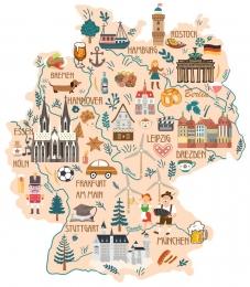 Купить Стенд Достопримечательности и обычаи Германии в виде карты 700*800 мм. в Беларуси от 68.00 BYN