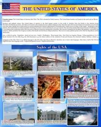 Купить Стенд Достопримечательности США на английском языке в голубых тонах 600*750 мм в Беларуси от 52.00 BYN