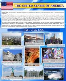 Купить Стенд Достопримечательности США на английском языке в голубых тонах 700*850 мм в Беларуси от 68.00 BYN