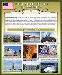 Купить Стенд Достопримечательности США на английском языке в золотисто-оливковых тонах 700*850 мм в Беларуси от 65.00 BYN