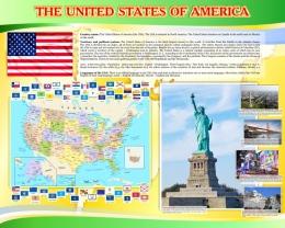 Купить Стенд Достопримечательности США в жёлто-зеленых тонах 1250*1000 мм в Беларуси от 136.00 BYN