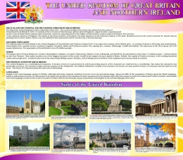Купить Стенд Достопримечательности Великобритании на английском языке 800*700 мм в желто-фиолетовых тонах в Беларуси от 61.00 BYN