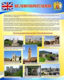 Купить Стенд Достопримечательности Великобритании в голубых тонах  600*750мм в Беларуси от 52.00 BYN