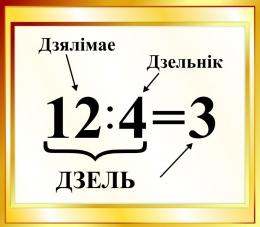 Купить Стенд Дзель на белорусском языке для начальной школы в золотистых тонах 400*350мм в Беларуси от 16.00 BYN
