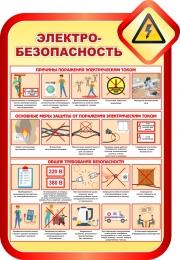 Купить Стенд Электробезопасность в золотисто-красных тонах 690*1000мм в Беларуси от 75.00 BYN