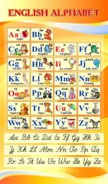 Купить Стенд ENGLISH ALPHABET Алфавит с прописными буквами в кабинет английского языка золотистый 850*500 мм в Беларуси от 49.00 BYN