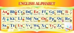 Купить Стенд ENGLISH ALPHABET Алфавит в кабинет английского языка в золотистых тонах 660*300 мм. в Беларуси от 22.00 BYN