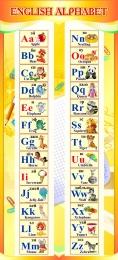 Купить Стенд ENGLISH ALPHABET Алфавит в кабинет английского языка золотистый 300*660 мм. в Беларуси от 22.00 BYN