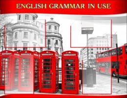 Купить Стенд  English Grammar In Use для кабинета английского языка в красно-серых тонах в стиле Лондон. 970*750 мм в Беларуси от 89.00 BYN