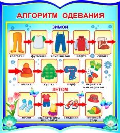 Купить Стенд фигурный Алгоритм одевания для группы Жемчужинка 270*300 мм в Беларуси от 10.00 BYN