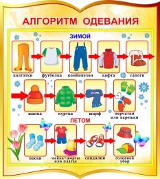Купить Стенд фигурный Алгоритм одевания для начальной школы и детского сада в золотистых тонах 270*300мм в Беларуси от 9.00 BYN