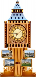 Купить Стенд Фигурный Биг-Бен с часами, размер 400*850 мм в Беларуси от 51.50 BYN