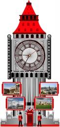 Купить Стенд Фигурный Биг-Бен с часами в красно-серых тонах, размер 400*850 мм в Беларуси от 54.50 BYN