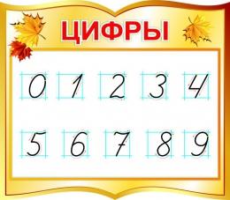 Купить Стенд фигурный Цифры для начальной школы в золотистых тонах 400*350мм в Беларуси от 16.00 BYN
