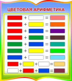 Купить Стенд фигурный Цветовая арифметика для начальной школы и детского сада в радужных тонах 270*300мм в Беларуси от 10.00 BYN