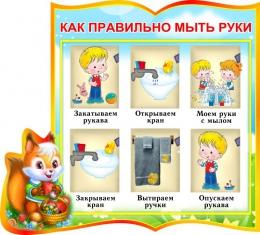 Купить Стенд фигурный Как правильно мыть руки для группы Бельчата 340*300 мм в Беларуси от 13.00 BYN
