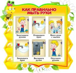 Купить Стенд фигурный Как правильно мыть руки для группы Пчёлка 360*350мм в Беларуси от 14.00 BYN