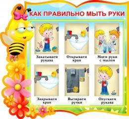 Купить Стенд фигурный Как правильно мыть руки для группы Пчёлки 330*310 мм в Беларуси от 13.00 BYN