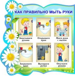 Купить Стенд фигурный Как правильно мыть руки для группы Ромашка 320*320 мм в Беларуси от 13.00 BYN