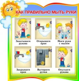 Купить Стенд фигурный Как правильно мыть руки для группы Солнышко 300*310мм в Беларуси от 11.00 BYN