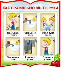 Купить Стенд фигурный Как правильно мыть руки для группы Вишенка 270*300мм в Беларуси от 10.00 BYN