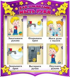 Купить Стенд фигурный как правильно мыть руки для группы Волшебники 540*600 мм в Беларуси от 39.00 BYN