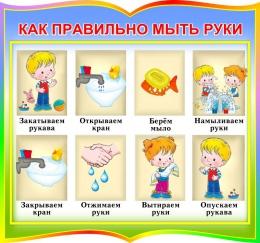 Купить Стенд фигурный Как правильно мыть руки для начальной школы и детского сада 320*300мм в Беларуси от 12.00 BYN